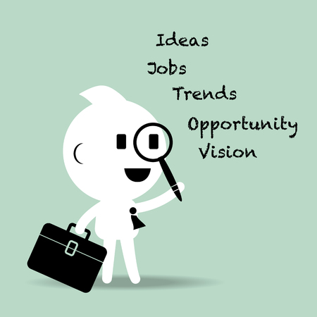 trends: abstract cartoon character businessman looking for ideas, opportunities, visions, jobs, and trends