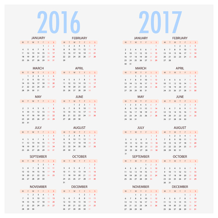 starts: English calendar for years 2016 and 2017, week starts on Monday, Simple Template