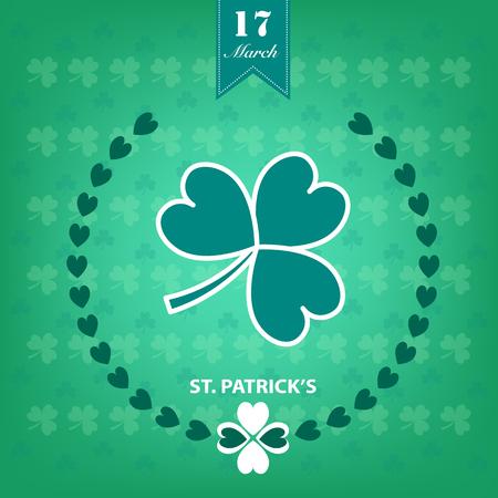 irish pub label: St. Patricks Day background. illustration