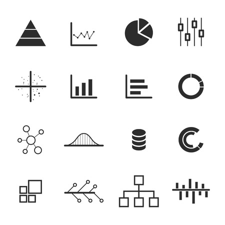 net bar: data, chart, diagram icon set, design elements
