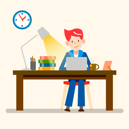 freelance: happy people, freelance, working from home vector design
