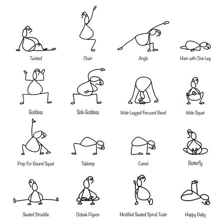 pregnancy yoga: Hand drawing line cartoon yoga for pregnancy illustration Illustration