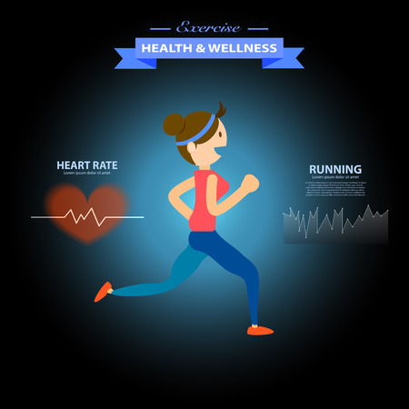 good cheer: health and wellness, exercise, running, woman healthy life style infographics vector illustration