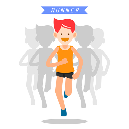 cheer: health and wellness, exercise, running, man healthy life style infographics vector illustration