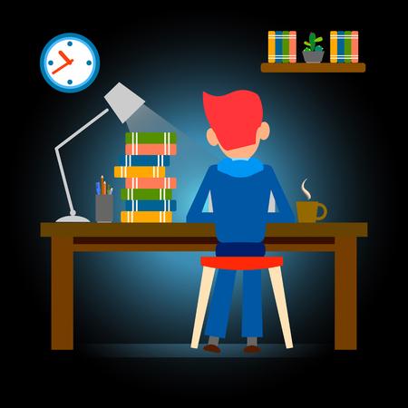 Menschen spät arbeiten, Überstunden, Vektor-Illustration, Design, fleißig Vektorgrafik