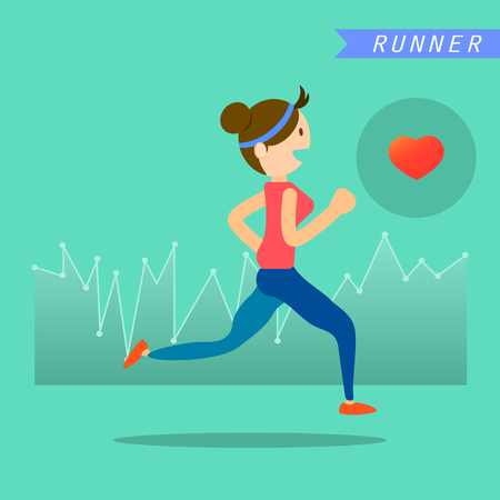 life style: health and wellness, exercise, running, woman healthy life style infographics vector illustration