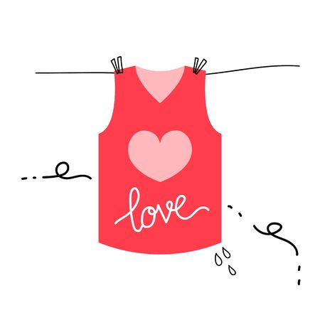 wet shirt: pink love shirt illustration for valentines day vector design