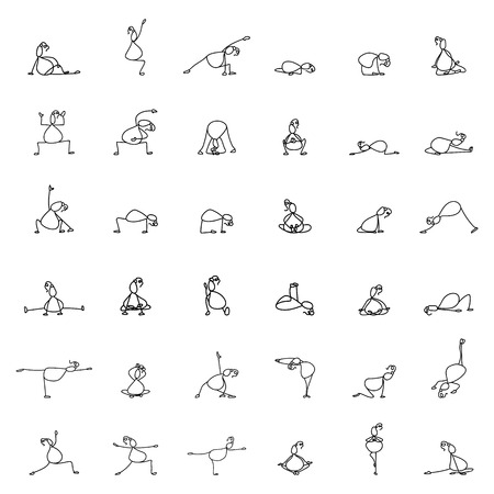 pregnancy exercise: Hand drawing line cartoon yoga for pregnancy vector illustration Illustration