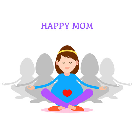 pregnancy yoga: Pregnant woman, Happy mom concept practicing meditation and yoga for pregnancy vector illustration