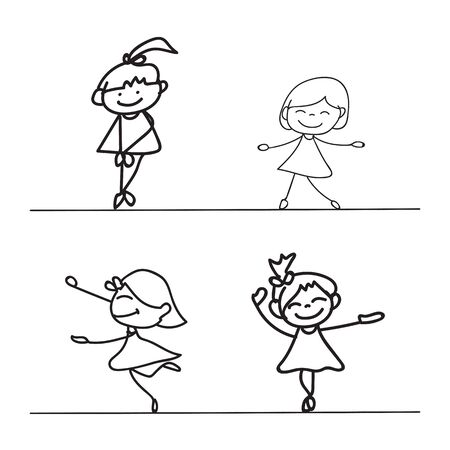 happiness concept: hand drawings cartoon happy kid happiness concept