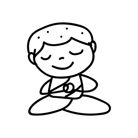 liberate: Hand drawing cartoon happy monk mediation vector illustration Illustration