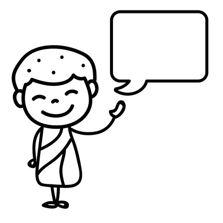 message box: Hand drawing cartoon happy monk with message box vector illustration