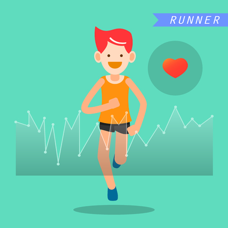 good cheer: health and wellness, exercise, running, man healthy life style infographics vector illustration