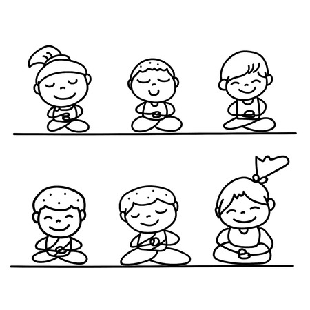 equanimity: Hand drawing cartoon happy people mediation vector illustration