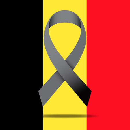 threat: The Belgian flag and black ribbon for peace illustration Illustration