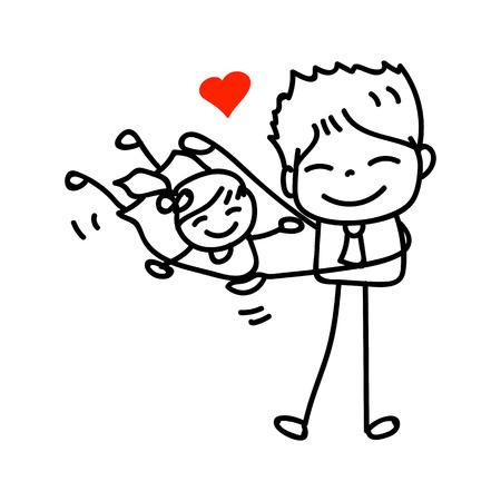 padre e hija: dibujo a mano de dibujos animados feliz pap� jugando con la ilustraci�n del vector del d�a hija ather