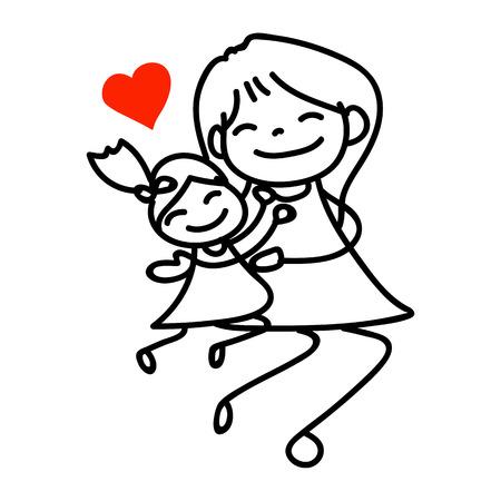 mujeres y niños: Ilustración del vector del día feliz madre e hija madre mano dibujo de la historieta Vectores