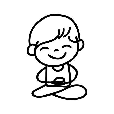 equanimity: Hand drawing cartoon happy boy mediation vector illustration Illustration