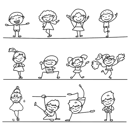 sister: Set of Hand drawing cartoon happy people vector illustration