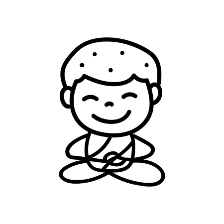 equanimity: Hand drawing cartoon happy monk mediation vector illustration Illustration