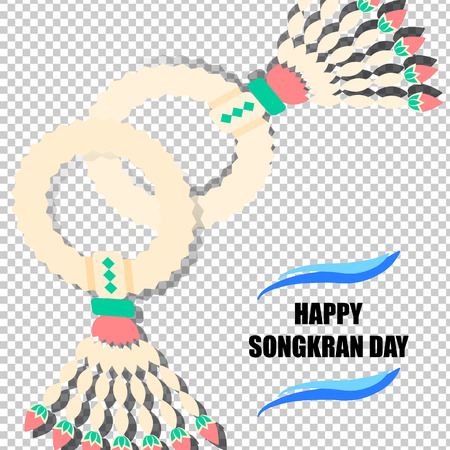 songkran: Happy Songkran Day background with jasmine garland