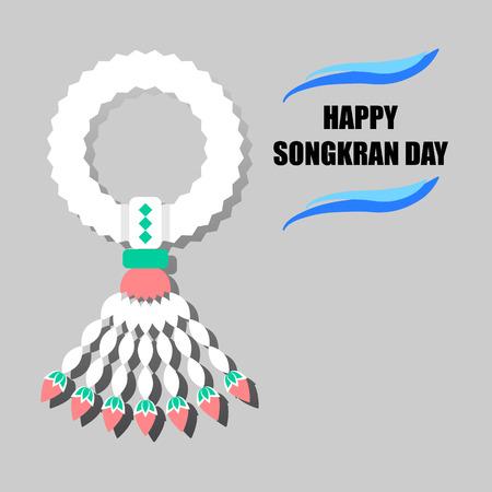 songkran: Happy Songkran Day background with jasmine garland illustration
