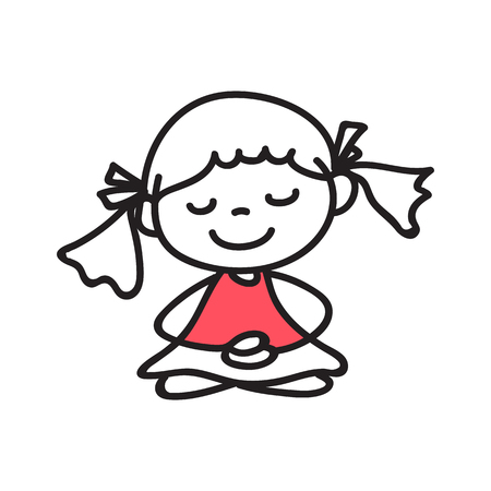 inner peace: hand drawing cartoon people meditation with happiness and smiling face
