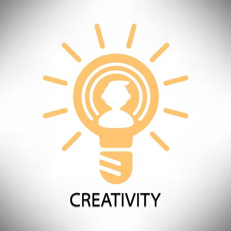 creative potential: graphic sign and symbol yellow lightbulb creativity vector design illustration