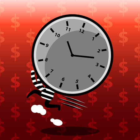 working hour: time management on red background cartoon concept stealing time, time control, business management, strategy planning, working hour with money pattern background vector design