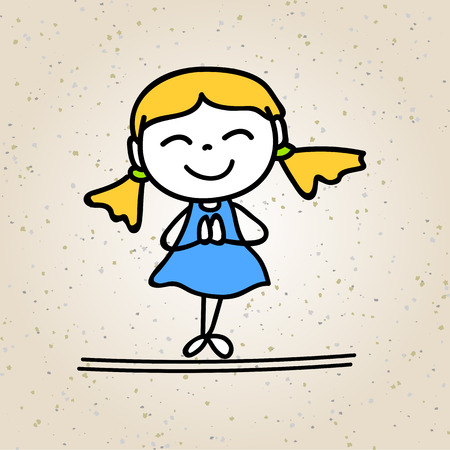 hand drawing cartoon happy girl happy kid with thank you posture happiness vector design Illustration