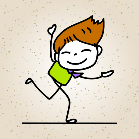 happiness concept: hand drawing cartoon happy people, businessman smile with joy, happiness concept character vector illustration