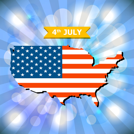 4th July Happy Memorial Day background with American flag and light bokeh background vector