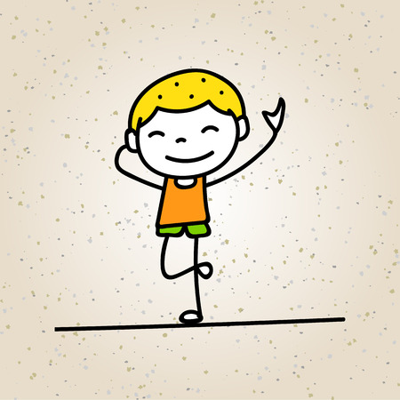 happiness concept: hand drawing cartoon happy boy smile with happiness concept character vector illustration
