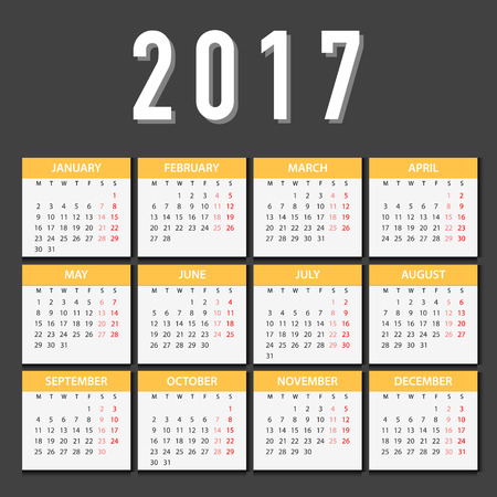 starts: Calendar for 2017 on White Background. Week Starts Monday. Simple Vector Template Illustration