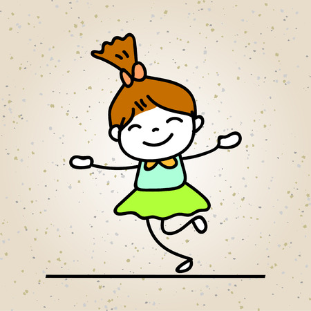 Hand drawing colorful happiness cartoon concept, happy girl, character of kid smile with joy vector illustration