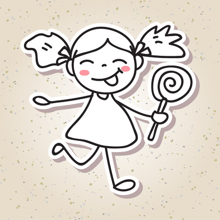 big smile: drawing cartoon concept happiness, happy kid, girl with big smile, line art sketch black and white illustration
