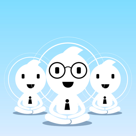 ceos: abstract businessman creative teamwork character sitting practice meditation for business success balance and happiness lifestyle illustration design