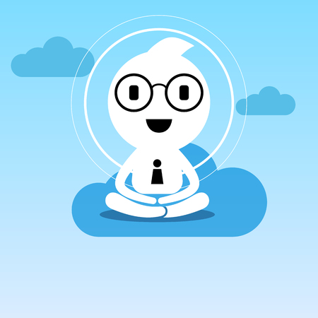 ceos: abstract businessman creative people character sitting practice meditation for business success balance and happiness lifestyle illustration design