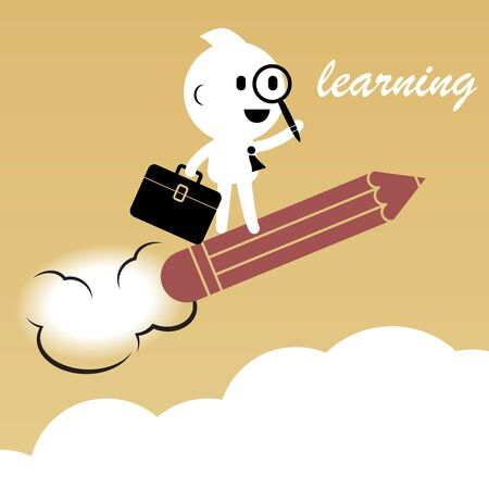 abstract businessman creative people character riding pencil above the sky metaphor of learning for business success balance and happiness lifestyle illustration design Illustration