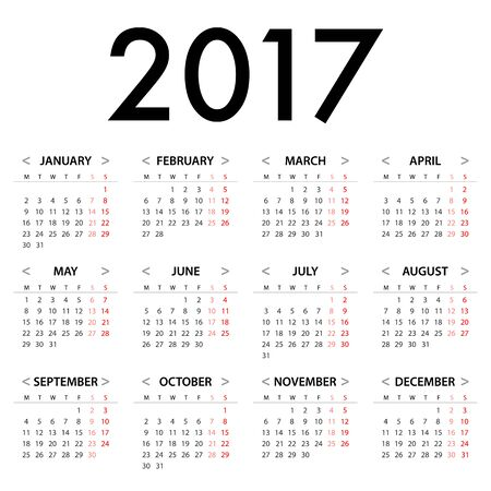 monotone: Calendar for 2017 on White Background for organization and business. Week Starts Monday. Simple Vector Template. EPS10 Illustration