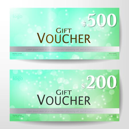 defocussed: Premium Gift Voucher with bokeh on green background Graphic Template vector illustration