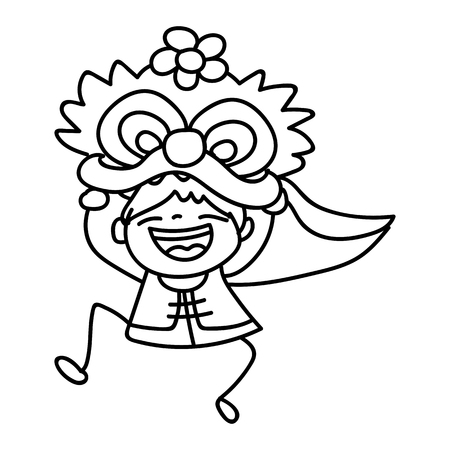 dancing dragon: hand drawing cartoon character kid dancing with dragon mask. Happy Chinese New Year, moon year concept. Line art for coloring.