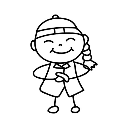 hand drawing cartoon character kid greeting for Happy Chinese New Year. Line art for coloring. Illustration