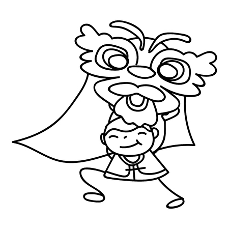 chinese new year dragon: hand drawing cartoon character kid dancing with dragon mask. Happy Chinese New Year, moon year concept. Line art for coloring.