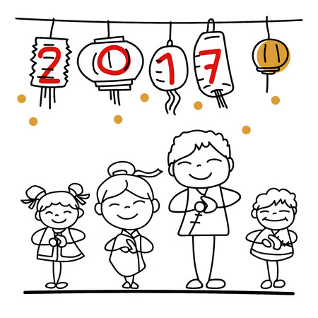 Conjunto De Personaje De Dibujos Animados De Dibujo A Mano Familia Y ...