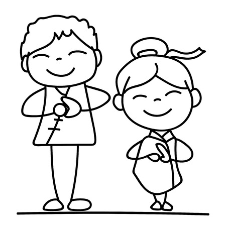 asian family: Set of hand drawing cartoon character Chinese people and kids. Happy Chinese New Year, moon year, lunar year concept. Line art for coloring.