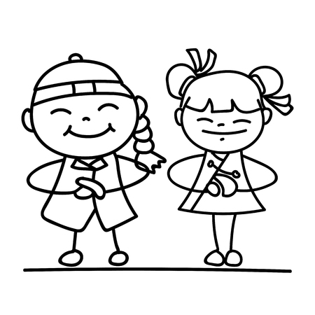 chinesse: Set of hand drawing cartoon character Chinese people and kids. Happy Chinese New Year, moon year, lunar year concept. Line art for coloring.