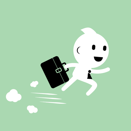 Businessman running with briefcase for meeting. Abstract Business concept graphic vector illustration Illustration