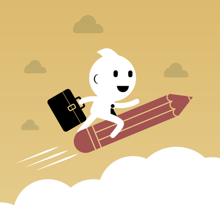 smart goals: Businessman riding pencil over the cloud. Abstract Business concept creativity graphic vector illustration Illustration