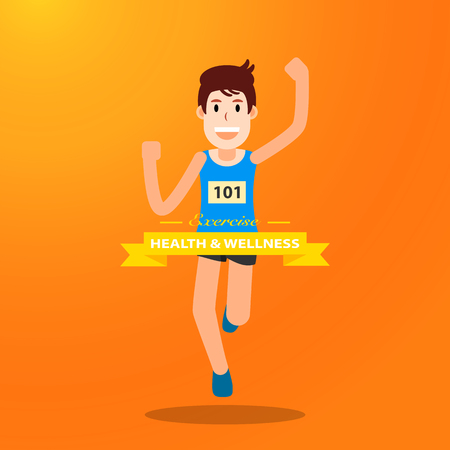 active young man running jogging exercise for marathon race on orange background. individual sport character city run training lifestyle. vector illustration design. Illustration